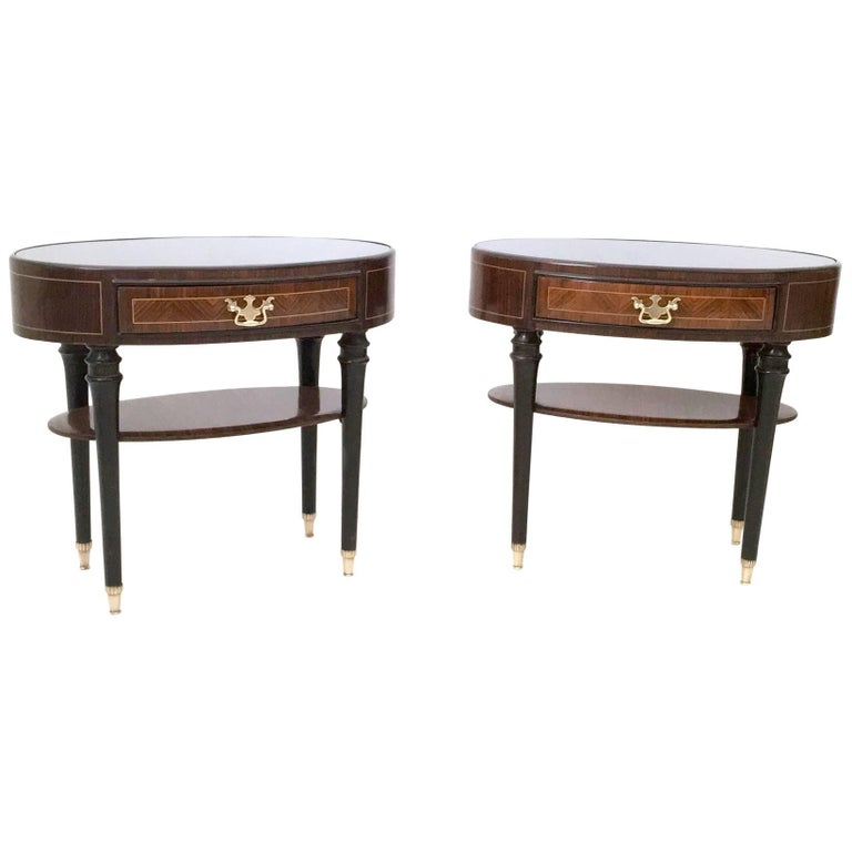 Pair of Wood and Ebonized Wood Nightstands in the Style of Buffa, Italy, 1950s