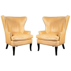 "Pair of ""William Sonoma Home"" Blonde Leather Wing Chairs"