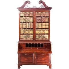 Chippendale Period Mahogany Secretaire Bookcase