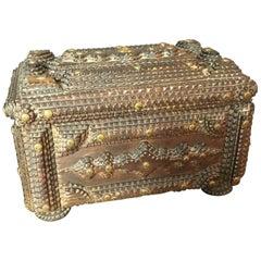 Antique Handcrafted Tramp Art Wooden Box