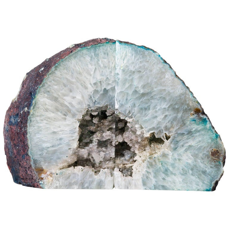 Pair of Natural Gemstone and Crystal Bookends with Hues of Teal