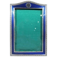 English Art Deco Sterling Silver and Enamel Picture Frame