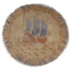 Chinese Maritime Seascape Nichols Round Mat with Junket Sailing Ship, circa 1920