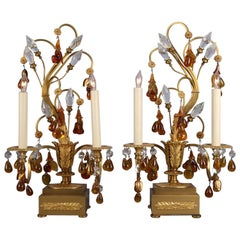 French Amber Glass & Crystal Gilt Bronze Branch & Leaf Electric Candelabra Lamps