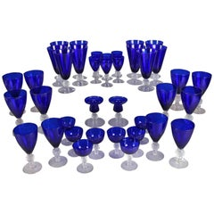 38 Piece Set of Ritz Blue Stemware Golf Ball Pattern by Morgantown Glass Co