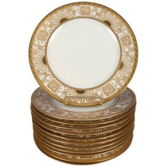 12 Neoclassical Bavarian Gilt Fine China Dinner Plates by Heinrich & Co.