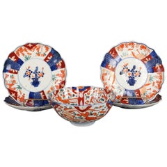 Five Antique Japanese Meiji Imari Hand-Painted Floral Porcelain Serveware