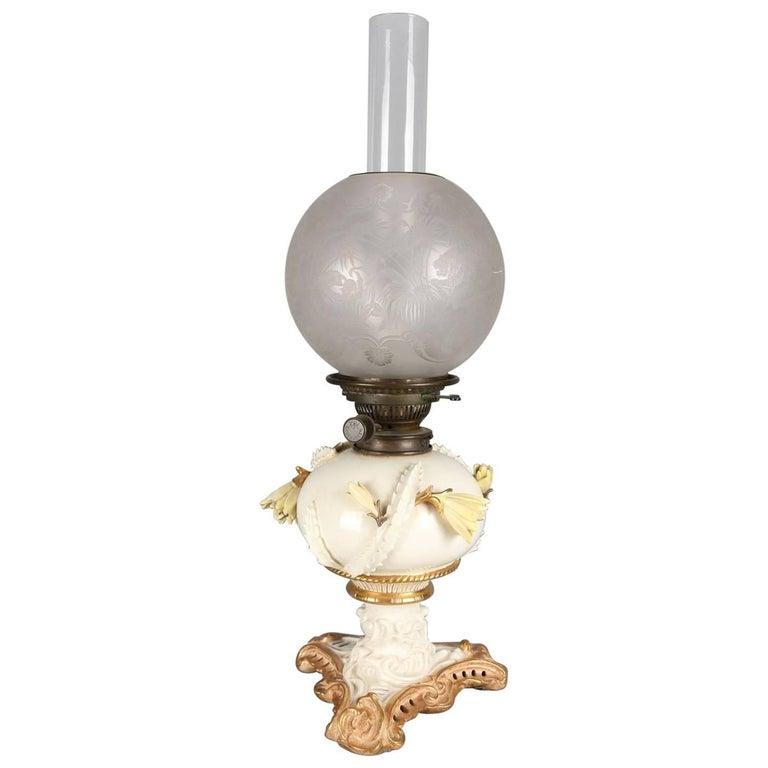Paris Porcelain Art Nouveau Period Lamp Chinese Taste: Vintage Frederick Cooper Hand-Painted Porcelain And Gilt