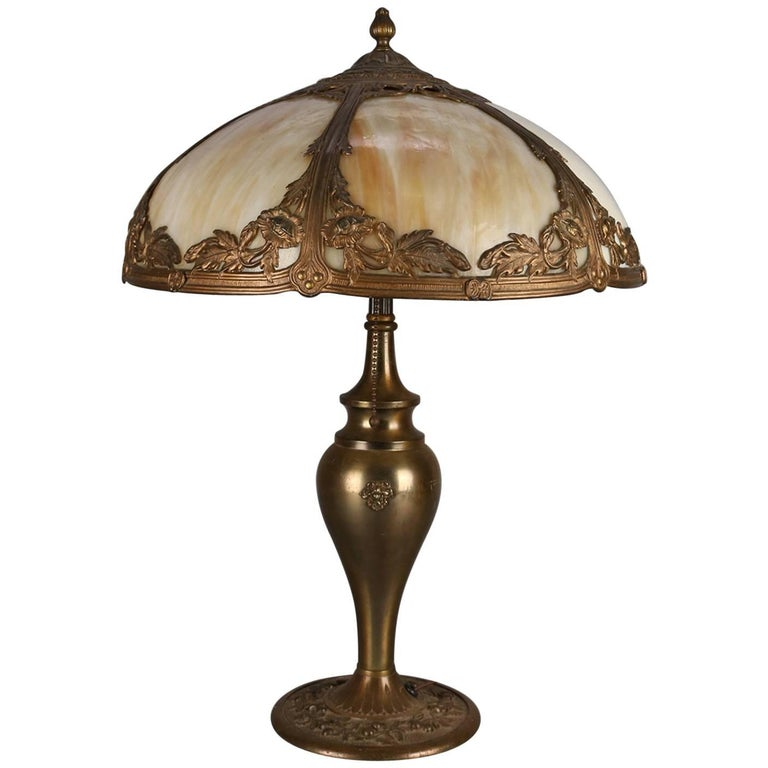 Arts & Crafts Antique Bradley & Hubbard School Filigree Slag Glass Lamp