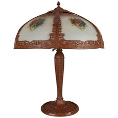 Arts & Crafts Antique Pittsburgh School Reverse Floral Painted Table Lamp,