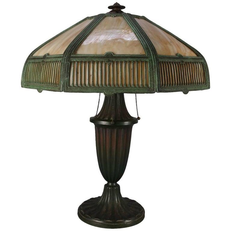 Arts & Crafts Antique Bradley & Hubbard School Bent Slag Glass Table Lamp