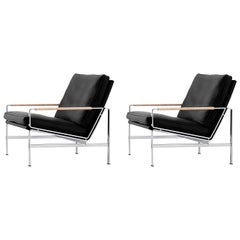 Black Leather FK 6720 Easy Chairs