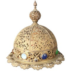 Antique Moorish Jewelled and Reticulated Brass Moroccan Dome Table Lamp