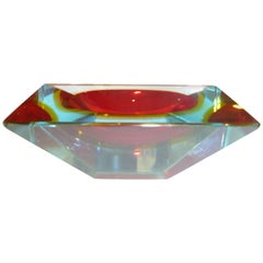 Italian Murano Vintage Angled Faceted Sommerso Sculptural Glass Bowl