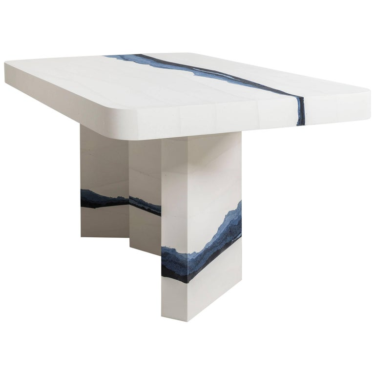 January Dining Table, White Cement and Sand by Fernando Mastrangelo