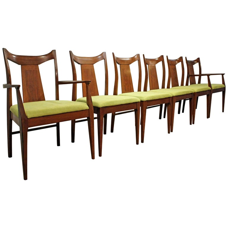 Set of Six Mid-Century Modern Curved-Back Walnut Dining Chairs
