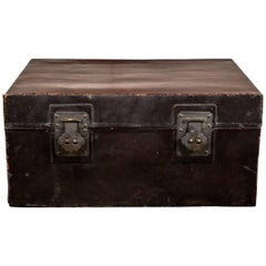 Antique Chinese Double-Lock Pig Skin Trunk as Coffee Table