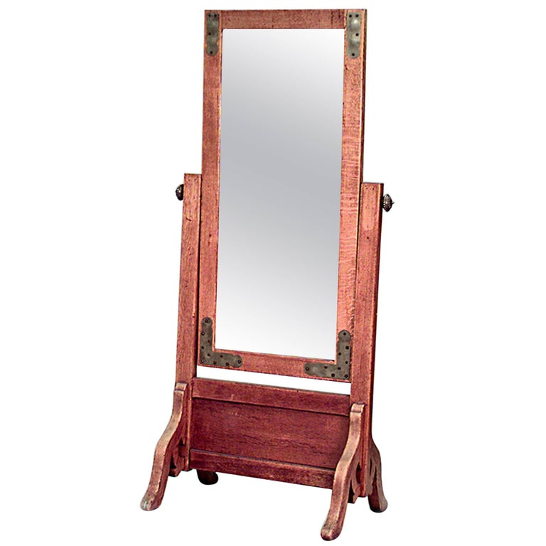 American Mission Oak Cheval Mirror with Brass Trim Corners