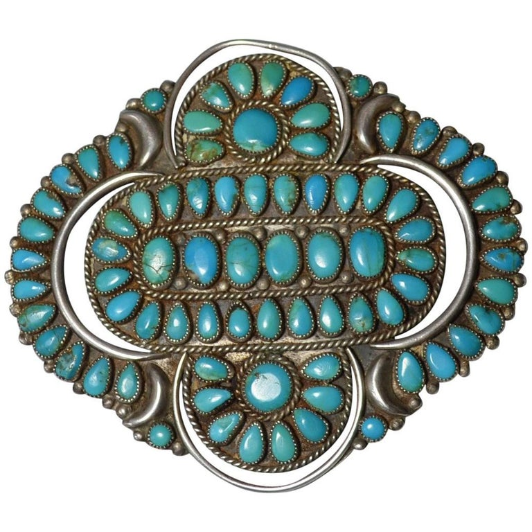 Native American Indian Fine Large Vintage Zuni Brooch Pendant