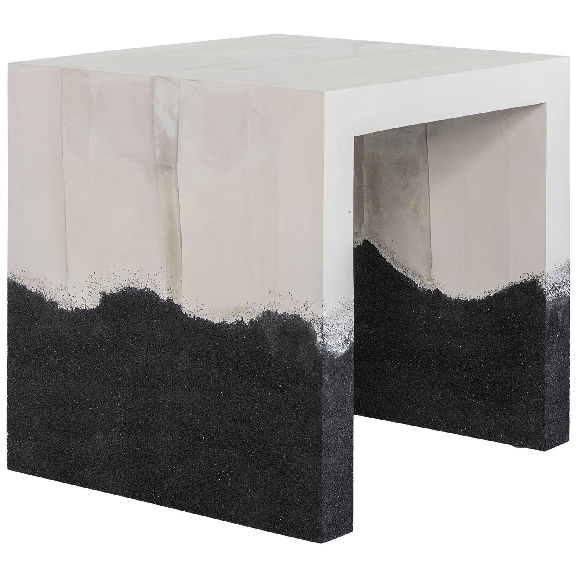 Hauser Side Table, Raw Cement and Black Silica by Fernando Mastrangelo