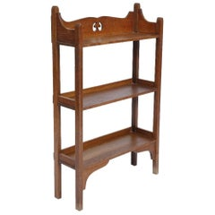 Small Arts & Crafts Oak Bookcase with Stylized Cut-Out to the Top