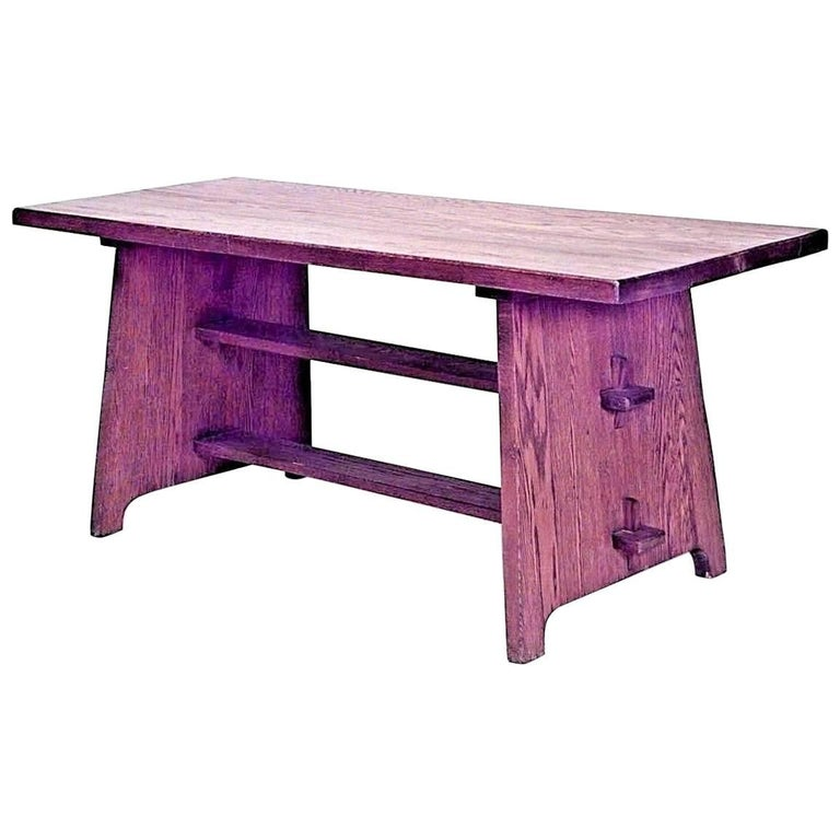 American Mission Oak Dining Table With Double Trestle Base For Sale - Double trestle dining table