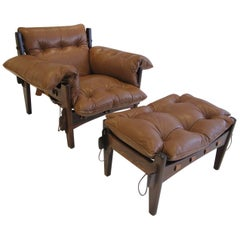 "Great Rosewood and Leather ""Mischievous"" Chair and Ottoman by Sergio Rodrigues"