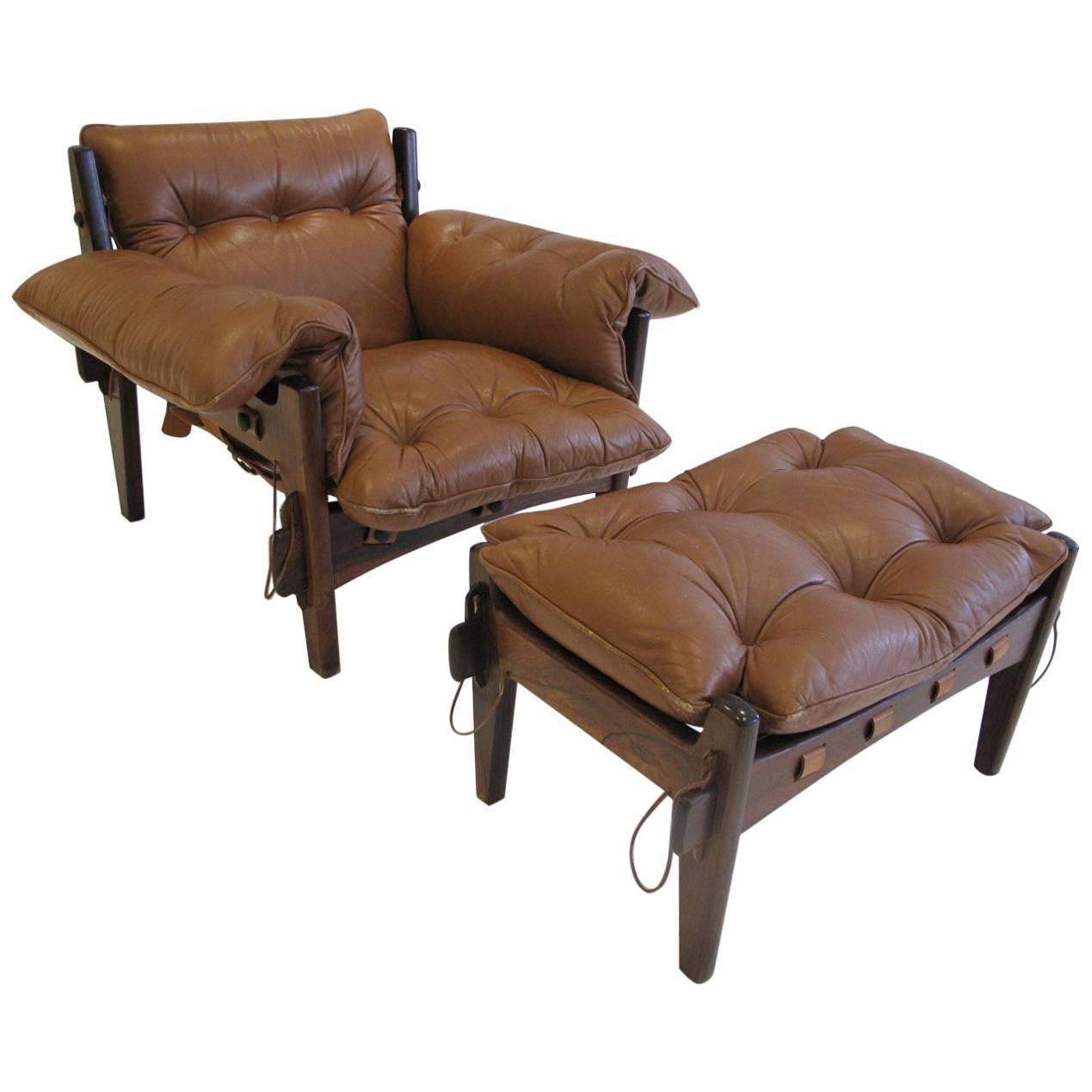 Great Rosewood and Leather u0026quot;Mischievousu0026quot; Chair and Ottoman by Sergio Rodrigues  sc 1 st  1stDibs & Sergio Rodrigues Furniture: Mole u0026 Sheriff Chairs Sofas u0026 More ...