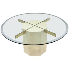 Mid-Century Modern Travertine and Brass Round Glass Top Coffee Table by Artedi