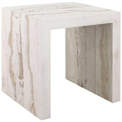 Lithic Side Table, Cream Cement, Porcelain and Tan Sand by Fernando Mastrangelo