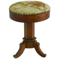 Piano Stool Adjustable French Revolving Tapestry Music Dressing Stool circa 1910