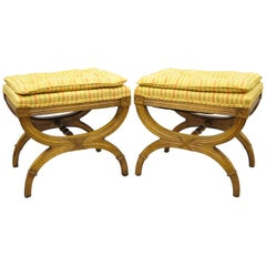 Pair of X-Frame Base Neoclassical Style Stools, Attributed to Karges