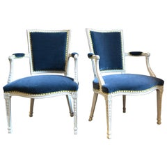 Pair of Adam Gessoed Armchairs