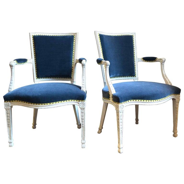 Pair of Adam Gessoed Armchairs