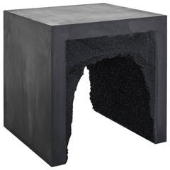 Strata 3 Side Table, Black Cement and Black Silica by Fernando Mastrangelo