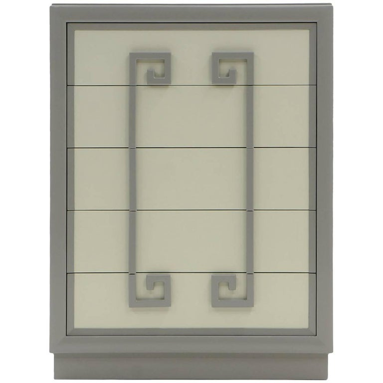 Kittinger High Boy Chest of Drawers, Expertly Restored, Greek Key Motif, 1940s