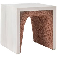 Strata 3 Side Table, White Cement and Copper BBS by Fernando Mastrangelo