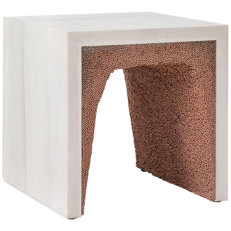 Strata 3 Side Table, White Cement and Copper BBS by Fernando Mastrangelo For Sale