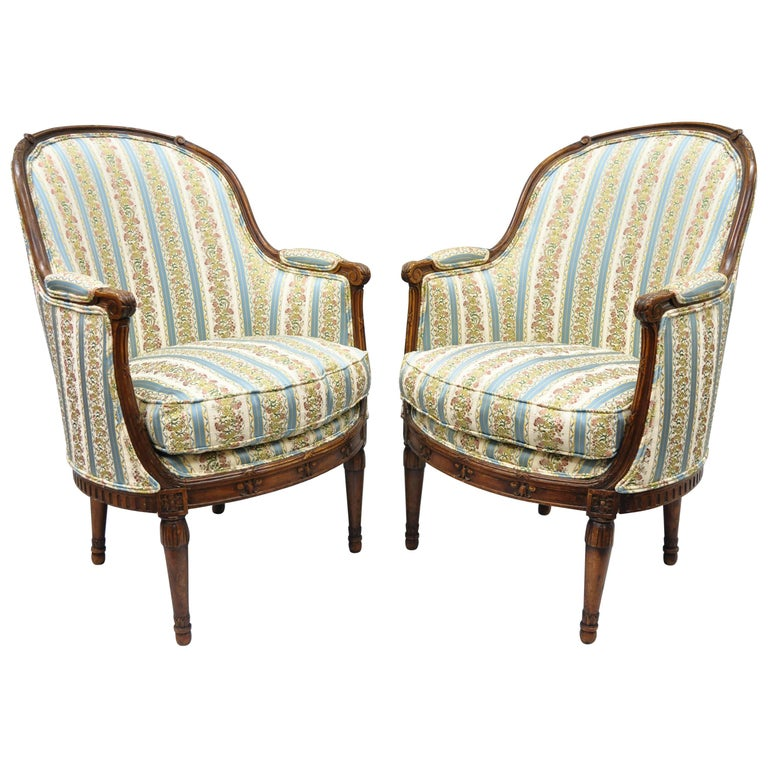 Pair of French Louis XVI Directoire Walnut Bergere Armchairs after Maison Jansen