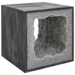 Strata 4 Side Table, Black Cement and Grey Rock Salt by Fernando Mastrangelo