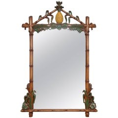Superb Faux Bamboo Composition Mirror with Pineapple Finial