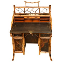 Beautiful 19th Century English Bamboo Ladies Knee-Hole Desk