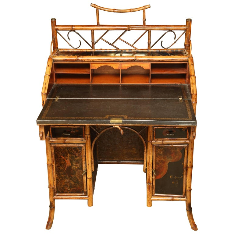 Beautiful 19th Century English Bamboo Ladies Knee-Hole Desk For Sale