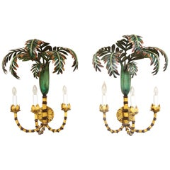Superb Pair of Tole Palm Frond Three-Light Sconces