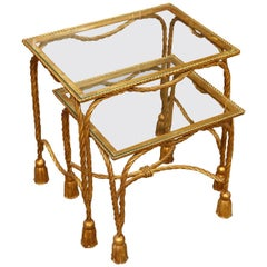 Superb Pair of Vintage Metal Rope and Tassel Nesting Tables