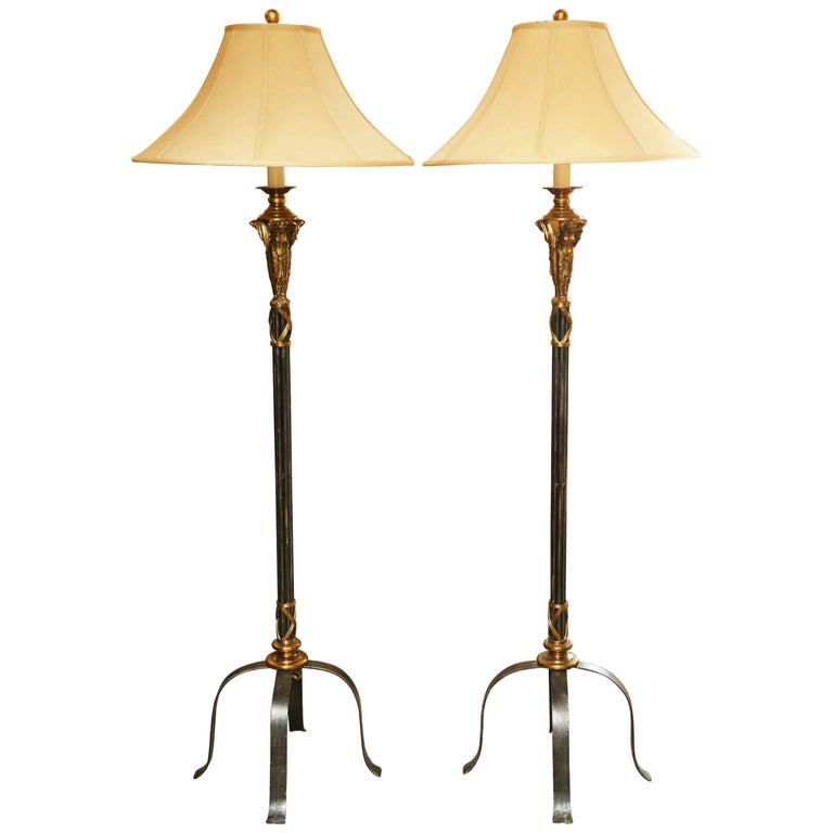 Superb Pair Of Vintage Maitland Smith Iron Floor Lamps At