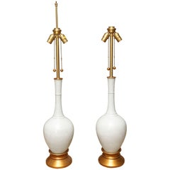 Unique Pair of Marbro White Porcelain Table Lamps