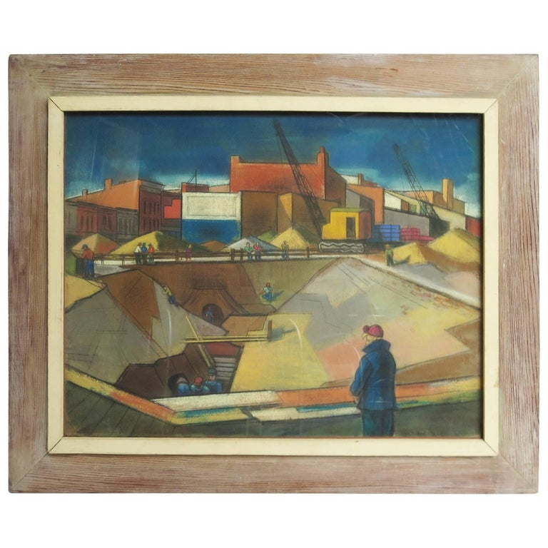 "Art Deco WPA Period Pastel Cubist Art ""Construction Zone"""