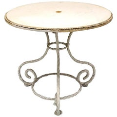 American Outdoor White-Painted Iron Circular Centre Table with White Marble Top