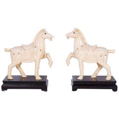Pair of Chinese Carved Bone Horses
